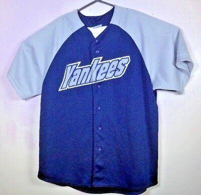 VTG MAJESTIC sewn New York Yankees Fashion Blue Gray Baseball Jersey XL Shrt EUC