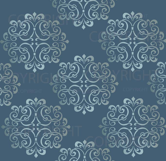 Large wall damask mylar stencil pattern faux mural decor for Damask wall mural
