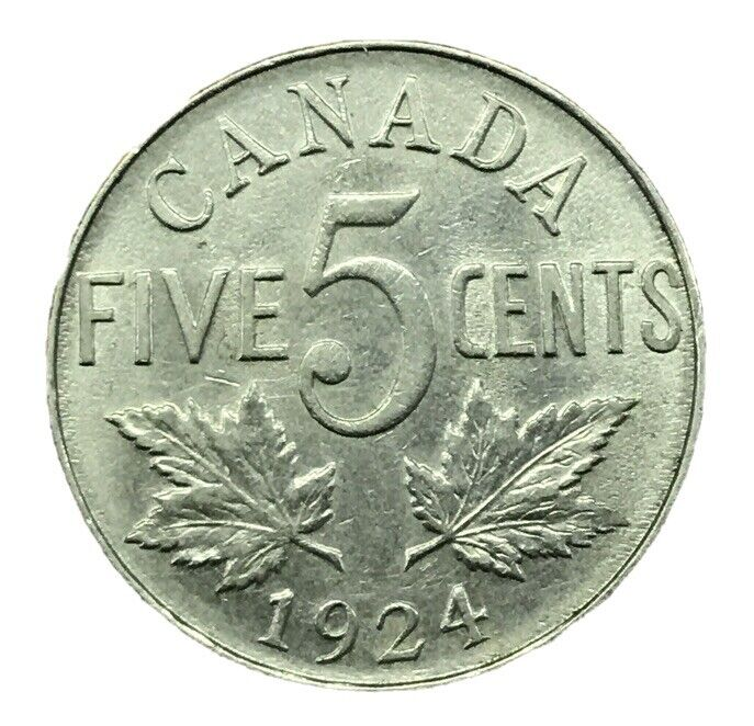 1924 CANADA CANADIAN 5 CENT NICKEL COIN