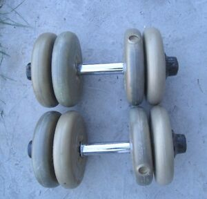2 Iron Dumbbells with 40 Lb total plastic weights