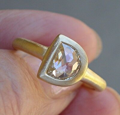 Custom Made Bezel Set Rose Cut Diamond Solitaire Ring 18K YG