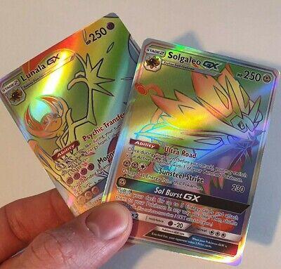 Lunala + Solgaleo Gx Rainbow Rare Pokemon Cards Bundle