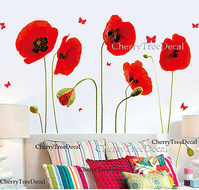 Home Decoration - Red Poppy Flowers Butterflies Wall Stickers Home Decor Transparent Art Decal UK