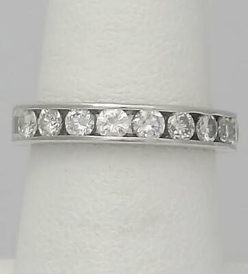 PLATINUM CHANNEL SET 1.00ct 9 ROUND DIAMOND SOLID BACK WEDDING BAND RING 4mm 4mm Platinum Channel Diamond Ring