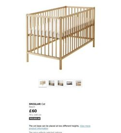 Ikea cot and mattress no bolts included