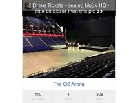X2 DRAKE great seated tickets, London O2 Arena - Block110 - 15th FEB (Day after Valentines!)