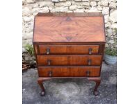 Walnut Bureau/Writing Desk (20th c)