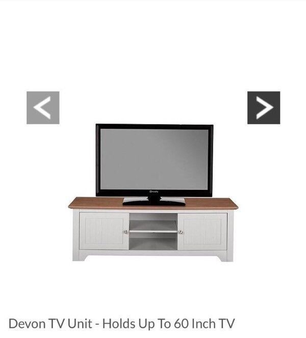 Devon TV Unit In Grey/Walnut-Effect – Suitable For Televisions Up To 42 Inch
