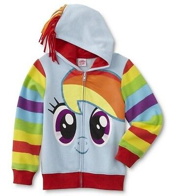 Rainbow Dash Jacket (My Little PONY Jacket Girl's 14/16 NeW Mane on the Hood Rainbow DASH Hoodie)