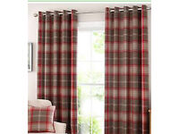 Dunelm check curtains and cushions