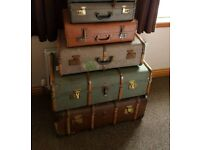 A Variety of Antique & Vintage Leather Cases and Trunks
