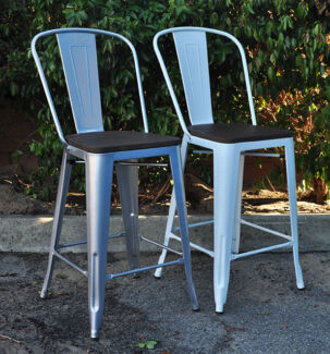 Tolix Bar Stool with Back Support (Replica Xavier Pauchard)