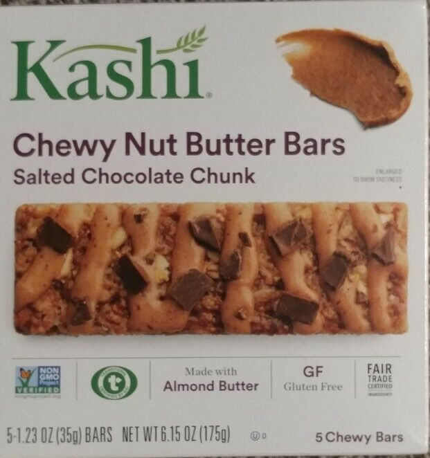 30 Kashi Chewy Nut Butter Bars, 1.2 oz, - Salted Chocolate Chunk best by 5/5/21