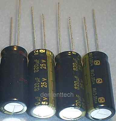 4x Panasonic Fm 820uf 25v New Radial Capacitors Caps 105c 10mm 10x25 Low-esr