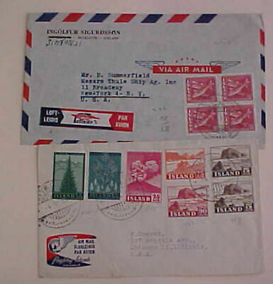 ICELAND 1955 TO USA WITH 2 DIFF. ETICUTTES on 2 COVERS