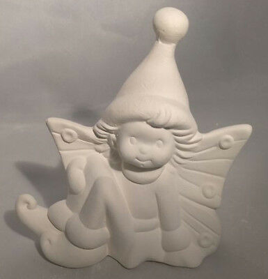 "FREE SHIPPING Glisten Winter Fairy 5"" Ceramic Bisque, Ready To Paint"