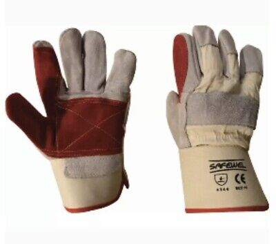 Premium Leather Rigger DIY Work Gardening Safety Gloves - See Offers
