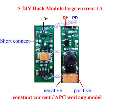5-24v 405 450nm 808 830 850 980nm 1a Laser Diode Constant Current Driver Board