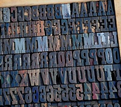 Letterpress Wood Printing Blocks 364 Pcs 1.42 Tall Printers Alphabet Type Abc