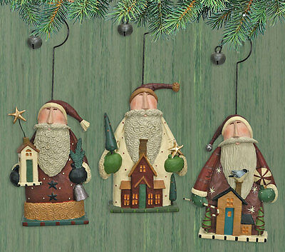 SANTA House Ornaments -Set of 3- Williraye -2906-New in Box