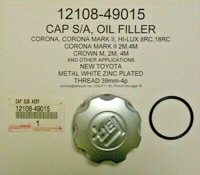 Toyota Corona Oil Filler Cap 12108-49015 8RC, 18RC, M, 2M, 4M Engines