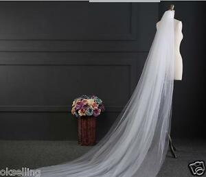 new-2-Layer-Cathedral-Length-wedding-veil-white-ivory-bridal-mantilla-yashmak-3M