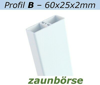 Latten B (60x25x2mm)weiss L=118cm Profiware Zaunslatte Staketenzaun Geländerzaun
