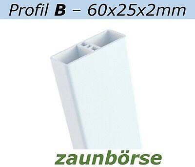 Zaunlatten B (60x25x2mm) weiss L=84cm Profiware Kunststoffzaun Staketen Geländer