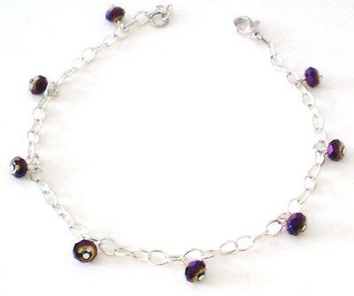 Anklet Glass Crystals Purple AB Silver Plated Chain 10 in GB Handmade USA New