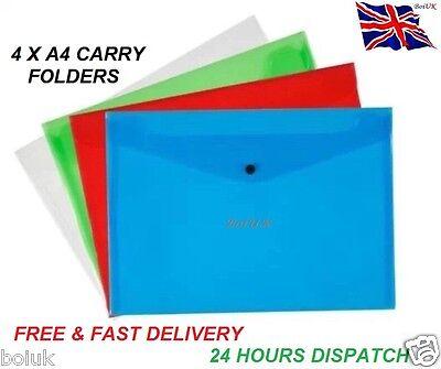 A4 Plastic Carry Folders 4 Pack Document Stud Wallets Mix Colours Paper Storage