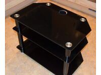 Small Version Of Black Glass And Chrome 3 Tier TV stand.