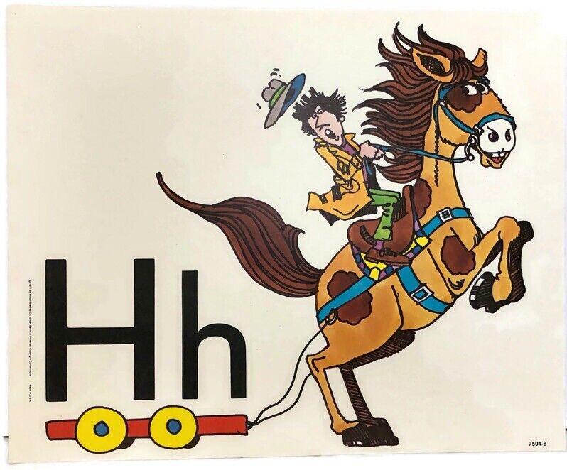 Vintage Alphabet Poster Card Electric Company Letter H 1977 Milton Bradley Horse