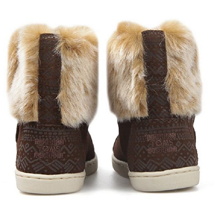 Toms Infant  Girls' Nepal Boots Chestnut Suede with Faux Fur , Infant US 3 1