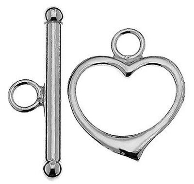(ONE STERLING SILVER 925 SUBSTANTIAL STRONG HEART TOGGLE CLASP, 23 X 15 MM)