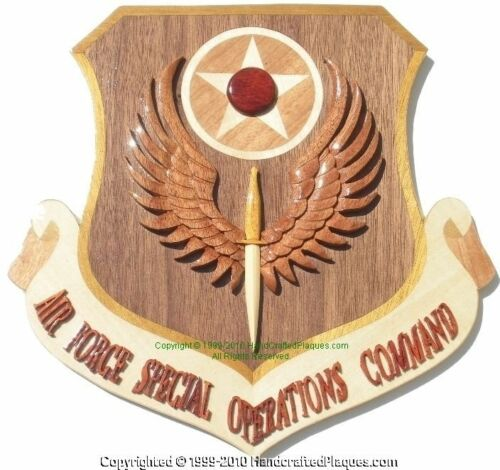 AIR FORCE SPECIAL OPERATIONS COMMAND  - Handcrafted Wood Art Military Plaque