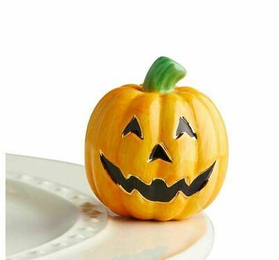 Nora Fleming Mini Pumpkin Jack-o-Lantern Hand-Painted Ceramic Carved Cutie A216