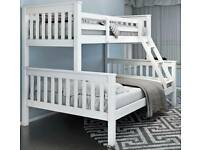 Spring Sale Offer-Trio Wooden Bunk Bed Frame in Oak and White Color Options-Kids and Adult Bed