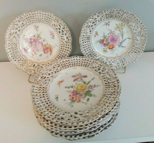Rare Set of 8 Antique Carl Thieme Meissen Reticulated Plates. Ex. Cond.