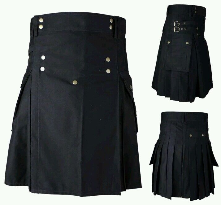 Men's Brand New Mens Black Cotton Utility Kilt, Good Quality 100% Cotton