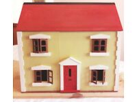 Wooden dolls' house with 3 floors and hinged roof, with plastic furniture