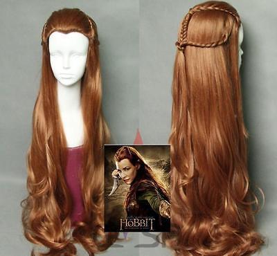 Anime The Hobbit Elf Tauriel Wig Hair Costume brown wavy cosplay wig+wig cap](The Hobbit Elf Costume)