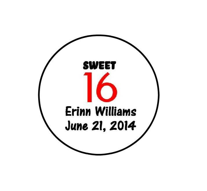 Personalized Sweet 16th Birthday Party Hershey Kiss Favors Labels