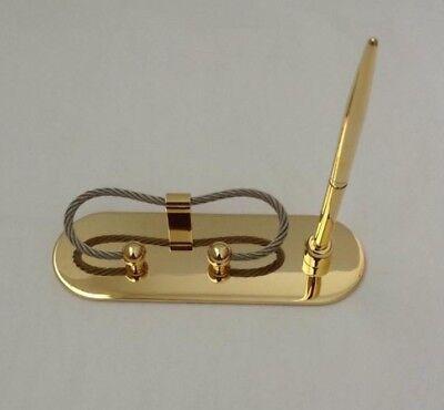 Nib Desktop Business Card And Pen Holder Genuine Brass New