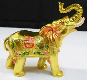 chinese trunk up feng shui lucky elephant figurine gold golden trunk up decor g. Black Bedroom Furniture Sets. Home Design Ideas