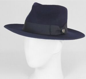 New BRIXTON navy Lopez Wool Fedora hat new with $125 tags