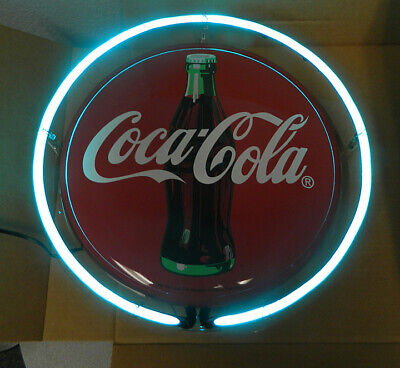 "COKE NEON SIGN ROUND BUTTON BULLSEYE SIGN METAL 14"" COCA COLA"