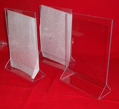 "Three  Acrylic Double Sided Table Sign Holders - Table Tents 5""W x 7""H - New! Table Tents Holders"