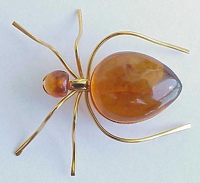 BALTIC AMBER INSECT SPIDER BROOCH GOLD JEWELRY 老琥珀 RUSSIAN USSR SOVIET PIN ORDER