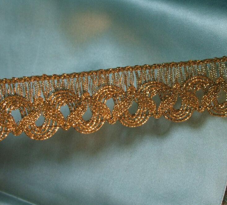 "Gold Metallic Trim w silky Green Tape for ruching ribbon-work antique vtg 5//8/"""