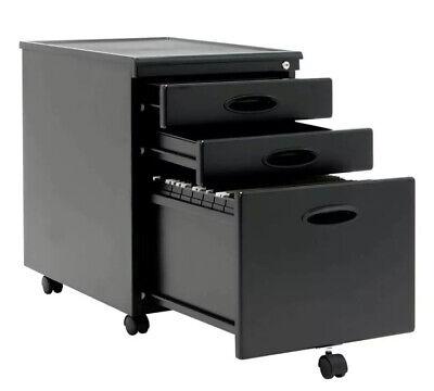 Calico Designs Home Office Furniture Storage 3 Drawer Mobile File Cabinet Black